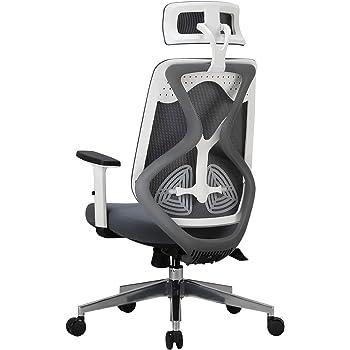 Hbada 人間工学 オフィスチェア デスクチェア - ハイバック メッシュ 昇降アームレスト 可動式ヘッドレスト 腰痛 ランバーサポート 約125度ロッキング 通気性 アルミ合金製ベース