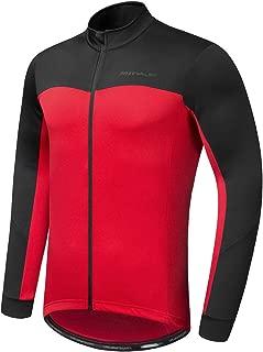 Przewalski Men's Cycling Bike Jersey Winter Thermal Long Sleeve Running Jacket with Full Zipper, Classic Series