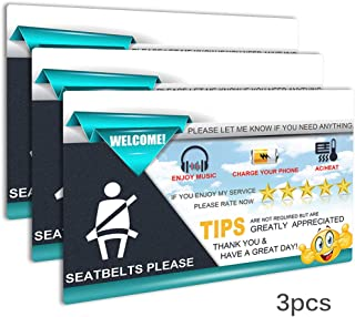 Rideshare Sign Accessories, AutoEC Rideshare Driver Rating Tip Signs, Large 9x6 Inch PVC Durable Display Card Hang Tag for Car Backseat Headrest (Pack of 3)