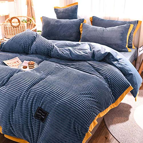 R&P Flannel Velvet Duvet Cover Set 4 Pieces Striped Winter Coral Comforter Cover Set Plush and Warm Solid Color with Zipper Closure and Corner Tie,Blue,200x230cm