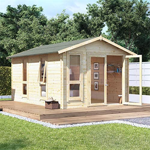 BillyOh Sasha Log Cabin Summerhouse | Apex Tongue & Groove Log Cabin | Floor, Roof and Felt Included | 19mm/28mm Wall Thickness- Multiple Sizes (14x10 (19mm))