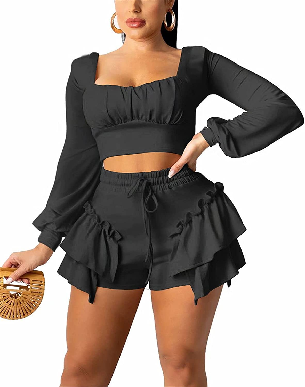 Women's Two Piece Ruffle Outfits Sexy Top Cami High Crop Waist Courier shipping free Nashville-Davidson Mall +