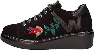 Melluso R25402 Nero Scarpa Donna Zeppa Sneaker Pelle Made in Italy