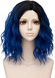Alacos 35cm Fashion Black Dark Roots Ombre Short Curly Bob Christmas Daily Costumes Wig for Women +Wig Cap (Royal Blue)