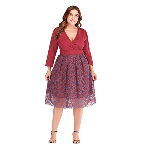 b52adcf0af5 ESPRLIA Plus Size Women s Lace 3 4 Sleeves Midi Business Cocktail Short  Formal Lace Dress
