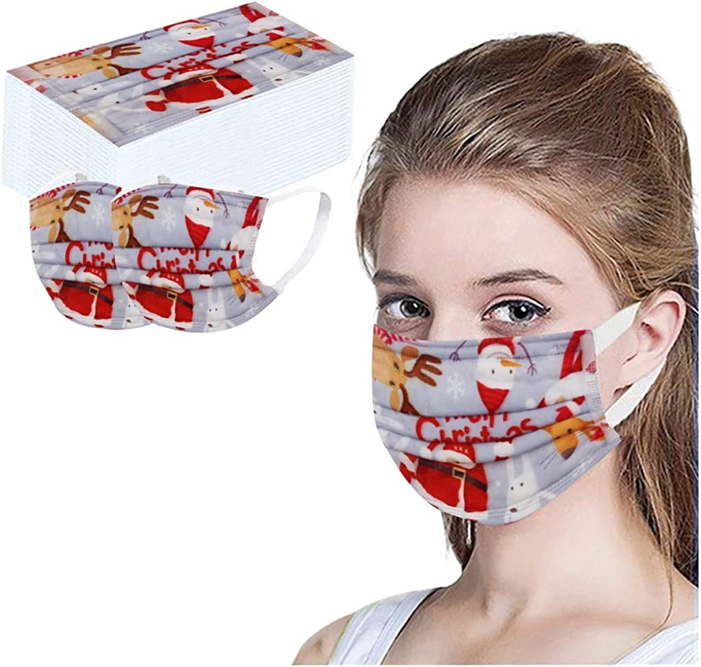 【USA Stock】 50Pcs trust Max 88% OFF Disposable Christmas Mask 3-Layer Face Fac