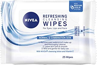 NIVEA Daily Essentials 3 in 1 Refreshing Cleansing Wipes for Eyes, Lips & Face. Enriched with Vitamin E for Normal & Combi...