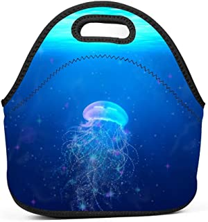 Family Dream Jellyfish Acaleph Lunch Bag Portable Tote Bento Pouch Lunchbox Baby Bag Multifunction Zipper Satchel for Outdoor Tour School Office Picnic Storage Bag