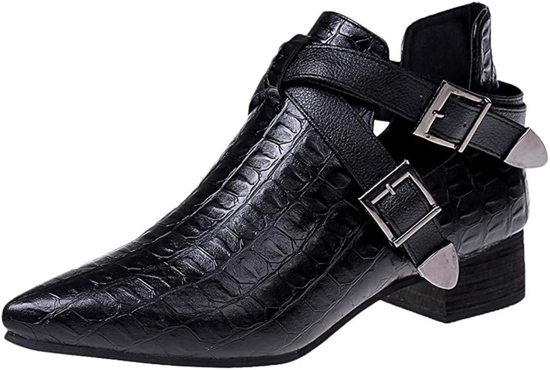 XoiuSyi Women's Buckle-Strap Flat shoes Crocodile Pattern Bare Ankle Bootie