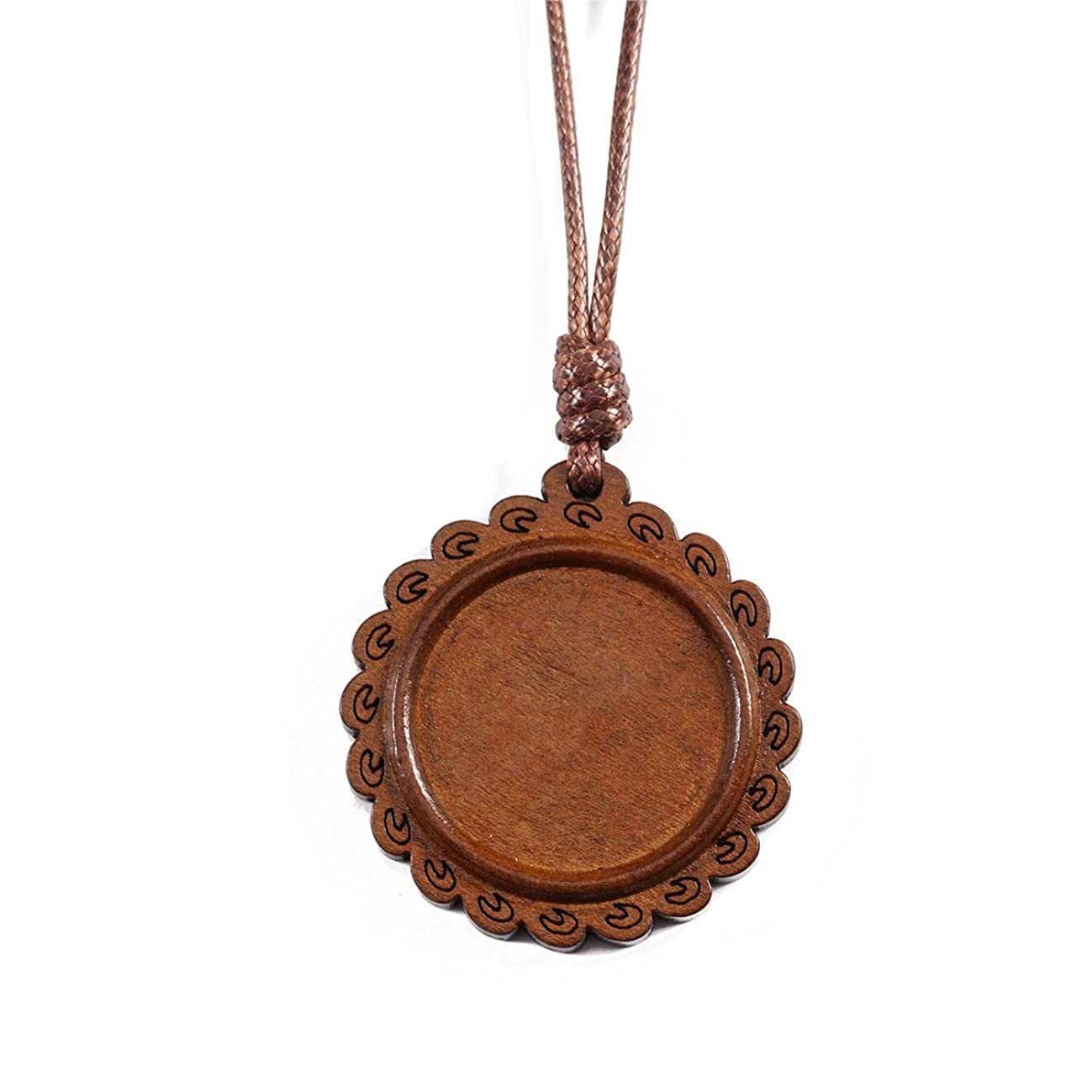 Tiparts 6pcs Wooden Pendant Trays Round Pendant Blanks Cabochon Settings Charms Adjustable Nacklaces(Style01)