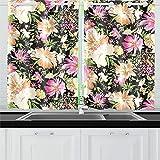 QIAOLII Flores de Trama Cortinas de Cocina Cortinas de Ventana Niveles para café, baño, lavandería, Sala de Estar Dormitorio 26 X 39 Pulgadas 2 Piezas
