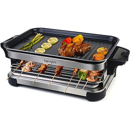 Grill Electrique Barbecue Electrique de Table Appareil à Raclette 2 in 1 avec 4 Spatules en Bois, Température Réglable, Antiadhésifs - 1300W