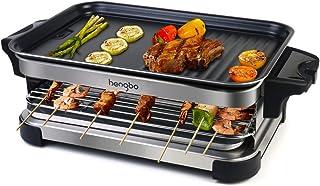 Grill Electrique Barbecue Electrique de Table Appareil à Raclette 2 in 1 avec 4 Spatules en Bois, Température Réglable, An...