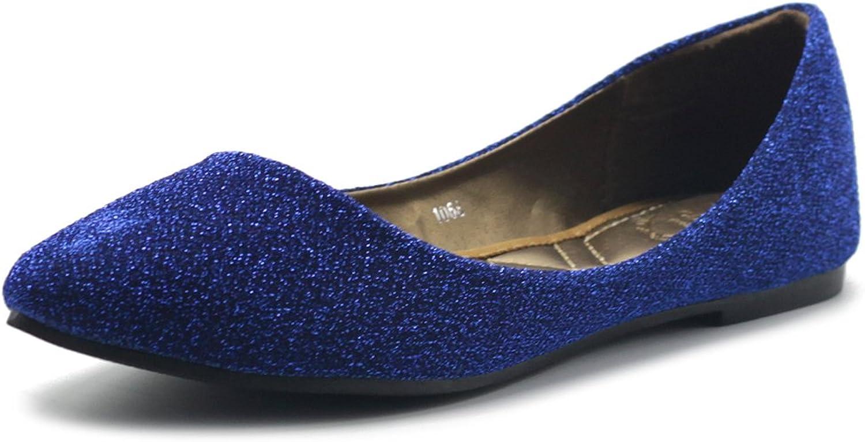 Ollio Women's shoes Ballet Comfort Glitter Light Pointed Toe Flats