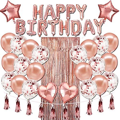 Decoracion Cumpleaños Globos, Decoración De Cumpleaños para Mujeres De Oro Rosa, Globos De Confeti De Oro Rosa De Feliz Cumpleaños, Pancarta, Borlas Brillantes