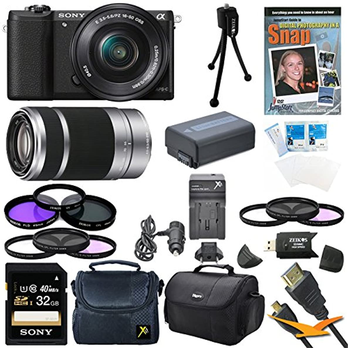 Sony a5100 ILCE5100L/B ILCE5100L ILCE5100 ILCE5100lb 16-50mm Interchangeable Lens Camera with 3-Inch Flip Up LCD (Black) Bundle with SEL 55-210 Zoom Lens (Silver), Sony 32GB Class 10 SD card, Spare Battery, Rapid AC/DC Charger, Micro HDMI Cable+ More