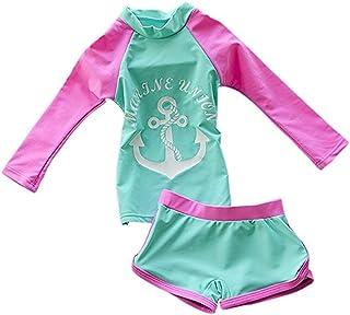 9de9b5b3520bf JELEUON Little Girls Kids 2 Pieces Long-Sleeve Flamingo Swimwear Rash Guard  UPF 50+