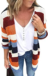 Womens Long Sleeve Casual Striped Cardigan Color Block Knit Open Front Sweater Coat