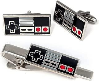 SharedImagination NES Nintendo Cufflinks, Super Nintendo Controller Tie Clip, Retro Gaming Jewelry, SNES Cuff Links, Super Mario Brothers Legend of Zelda Metroid Wedding Groomsman Groomsmen Gifts