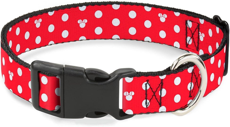 BuckleDown BACWDY240NS Breakaway Cat CollarMinnie Mouse Polka Dot Mini Silhouette Red White, 1 2  W69 NeckSmall