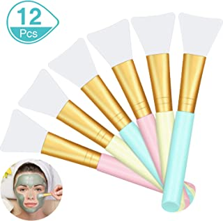 12 Pieces Silicone Face Mask Brushes, Soft Silicone Facial Mud Mask Applicator Brush for Sleeping Mask, Mud Mask, Hairless Body Lotion and Body Butter Beauty Tools