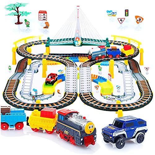 Kinderplay Trenino Elettrico con Pista da Corsa per Bambini - Binari Ferroviari, Piste per Automobili, Treno a Batteria, 2in1, KP0635