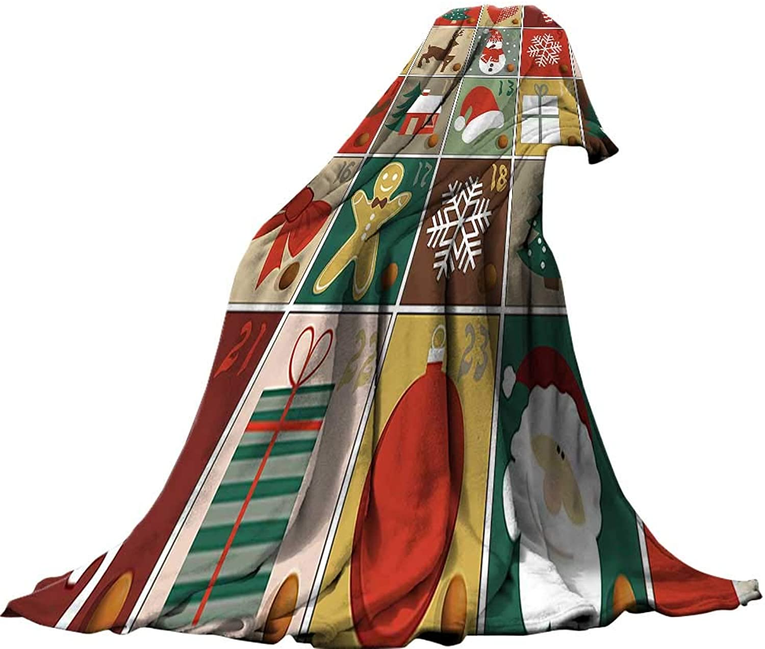 QINYAN-Home for Kids(62 x60 ) Summer Quilt Comforter Christmas Holiday Season Pattern with Santa Rudolf The Reindeer Gingerbread Man Candy Cane Snowflakes ES Multi.