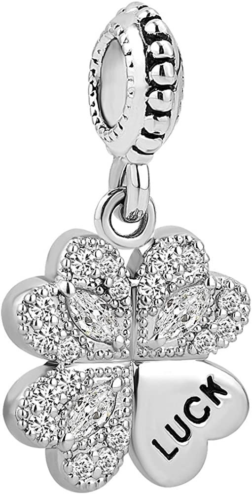 ReisJewelry Good Luck Four Leaf Clover Charms Dangle Charm Beads for Bracelets