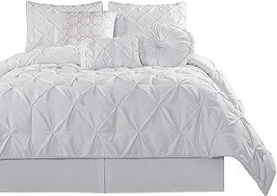 Chezmoi Collection Sydney 7 Piece Pintuck Comforter Set, King, White