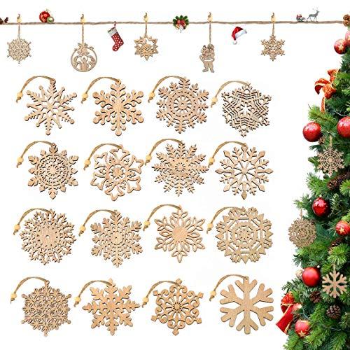 O-Kinee Weihnachtsbaumschmuck Holz, 16 Stück Schneeflocken Weihnachten Deko Mit Hanfseil und beweglichen Holzperlen, 7.5cm