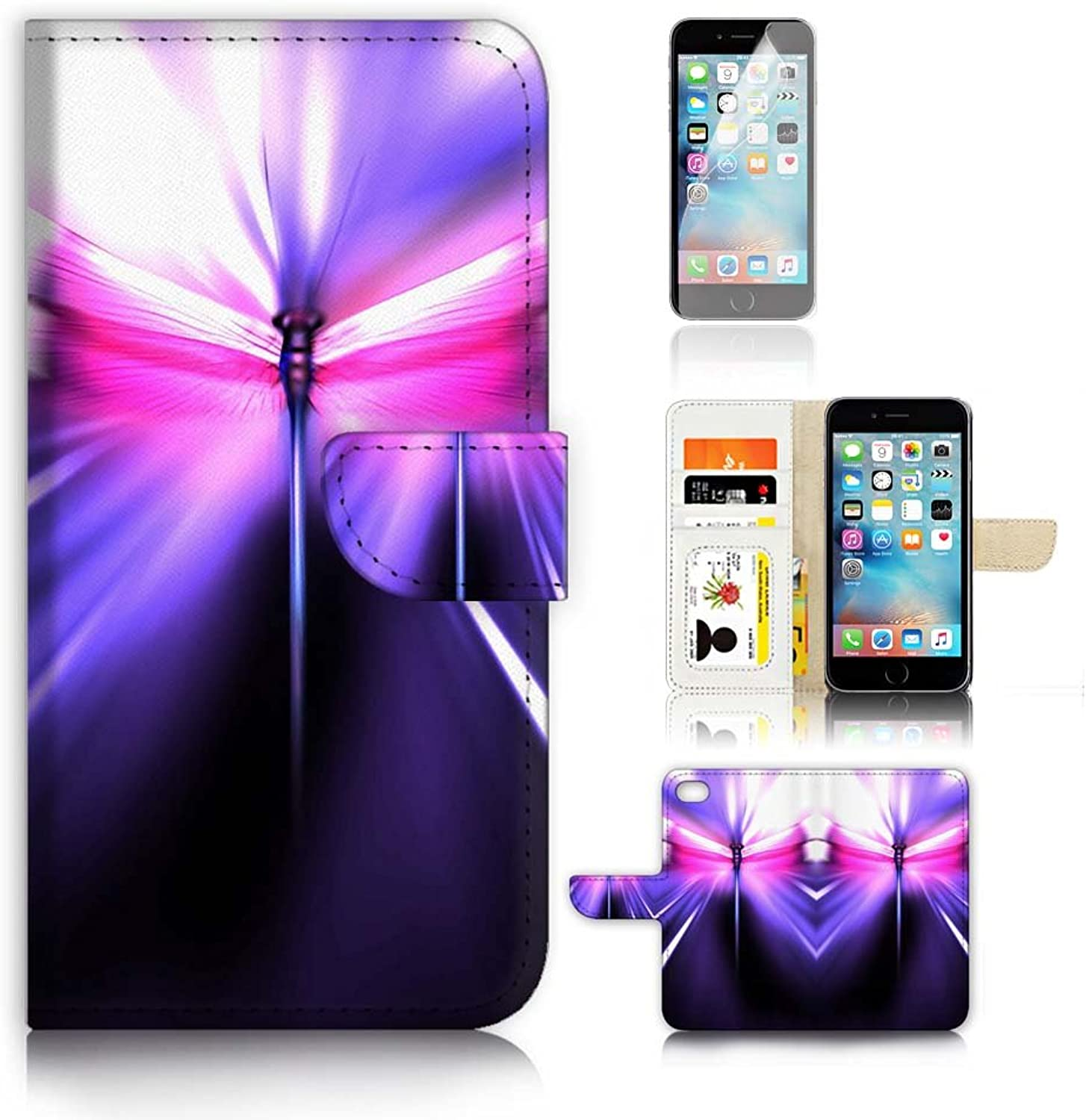 IPhone 6 6S (4.7') Flip Wallet Case Cover & Screen Predector Bundle  A9452 Dragonfly