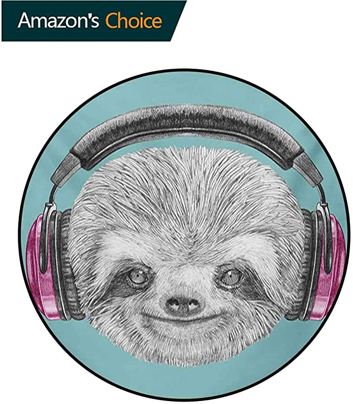 RUGSMAT Sloth Round Rug Dj Sloth Portrait With Headphones Funny Modern Character Cool Cute Smiling Carpet Door Pad For Bedroom Living Room Balcony Kitchen Mat Diameter 71 Inch Teal Grey Fuchsia