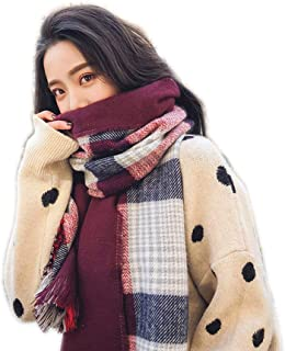 HZWLadies Scarf, Women Fashion Scarves Long Shawl Fall Winter Classic Tassel Warm Neckerchief Pure Natural to Any Outfit Length190cm Width70cm