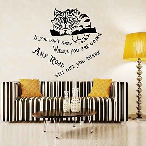Vinyl Wandtattoo Zitat aus Alice im Wunderland Buch If You Don't Know Where You are Going Any Road Cheshire Cat Cheshire-Katze Edamer-Katze Grinsekatze Innendekor Kunst Wandaufkleber Wandsticker Wanddekoration Dekoration für Schlafzimmer Wohnzimmer Kinderzimmer A308