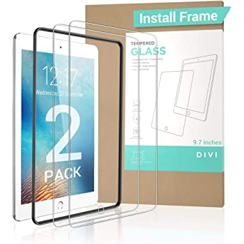 """【2 PACK Gift INSTALL FRAME】New iPad 9.7"""" 6th Generation Screen Protector (2018&2017) , Tempered Glass iPad Air 2 Screen Protector for iPad Pro 9.7/ iPad Air -iPad Pencil Compatible with HD/Anti-scratch"""