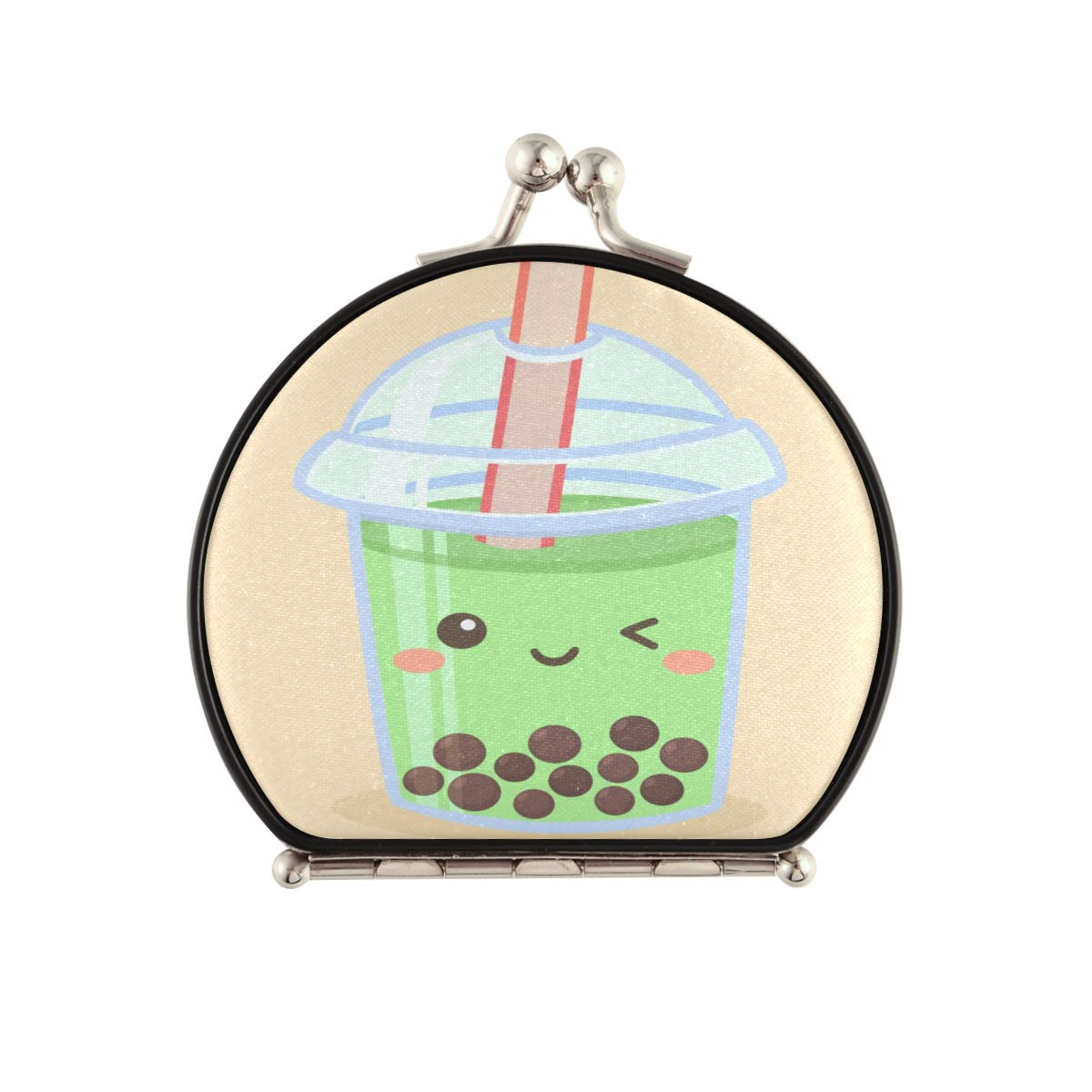 Magnifying Compact Cosmetic Mirror Mail order Super sale Cute Boba Dr Green Bubble Tea