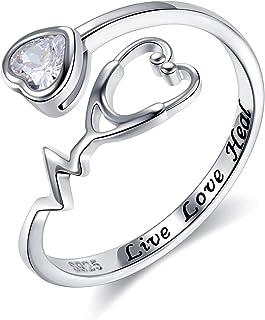 Stethoscope EKG Medicine Jewelry Stud Earrings Rings Necklace Nurses Week Gift 925 Sterling Sliver Heart Women Jewelry Gif...