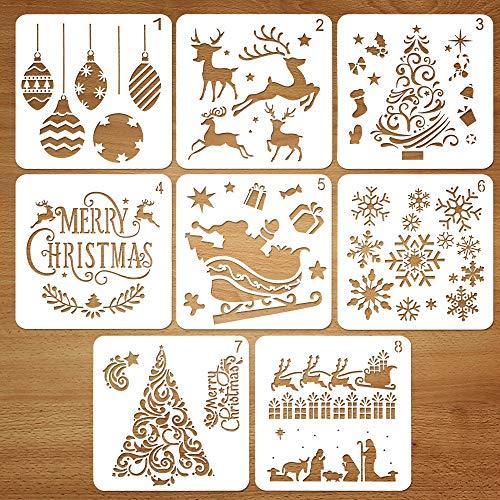 Kit da Disegno per Stencil in plastica Riutilizzabile di Natale, Set di 8, Babbo Natale Albero di Natale Fiocchi di Neve Campane Renna Stencil per La Decorazione di Natale Fai da Te