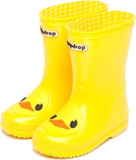 D.S.mor Toddler Little Kid Yellow Frosted Duck Soft Rubber Rain Boots Anti-Slip Rain Shoes
