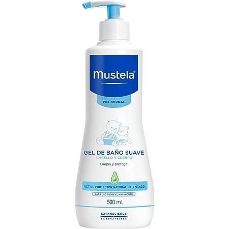 Mustela, Gel de Baño Suave para cara, cuerpo y cabello de Bebés y niños, Limpia y protege, 90% ingredientes de origen natural, 500 ml