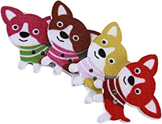 PULABO Lot de 50 boutons en forme de chien en bois de couleur pour loisirs créatifs, scrapbooking, couture, accessoires de...