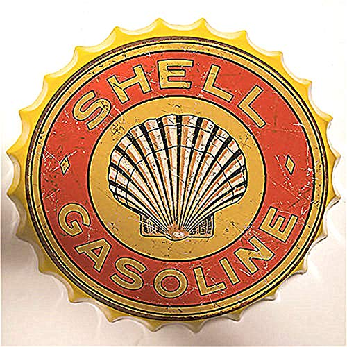 SKYNINE INC Vintage Fles Cap Tin Teken van Motorolie Benzine Garage Wanddecoratie Tin Tekens Voor Lounge/Bar/Cafe/Restaurant/Dorm/Garage/Man Grot/Gas Station Grootte: 13,8 inch met Gele Rand.