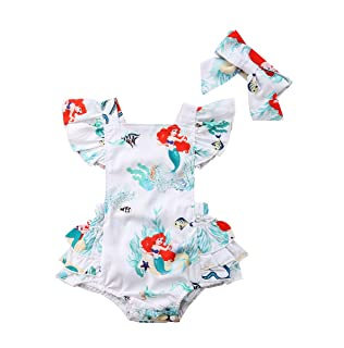 Baby Girls Rompers, Mermaid Sea World Pattern Flower Edge Bodysuit and Solid Basic Style Rompers Outfits Clothes