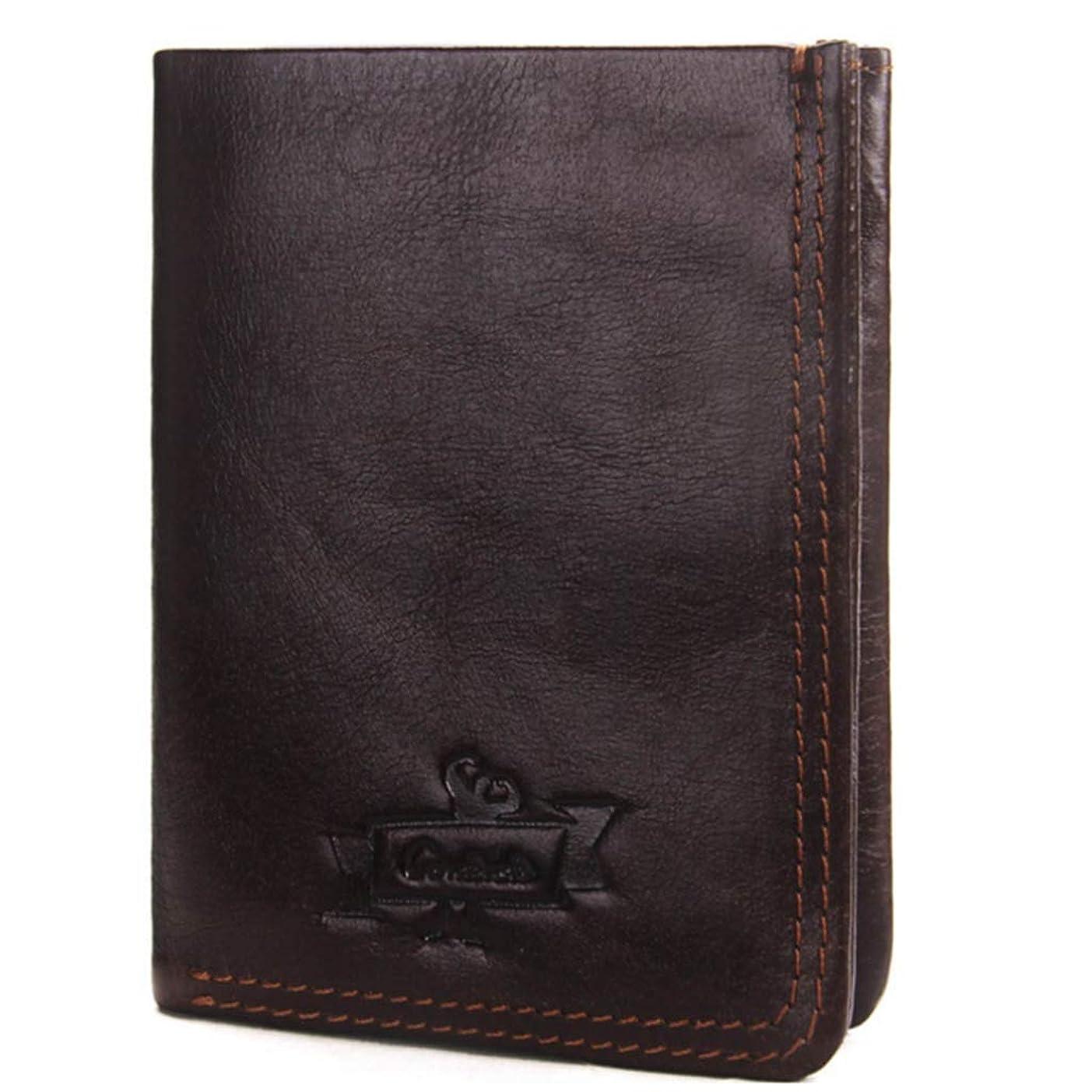 性交損傷集中的なメンズウォレットレザーレトロ二重クラッチクレイジーホースコート財布カードケース