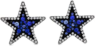 SoulBreezeCollection Sparkling White Star Stud Post Earrings Clear Rhinestones Fashion Jewelry