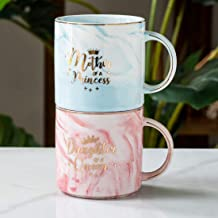 Mother of A Princess Daughter of A Queen Funny Mom And Daughter Coffee Mug Set 12 OZ -Best Christmas Birthday Gift for Mot...
