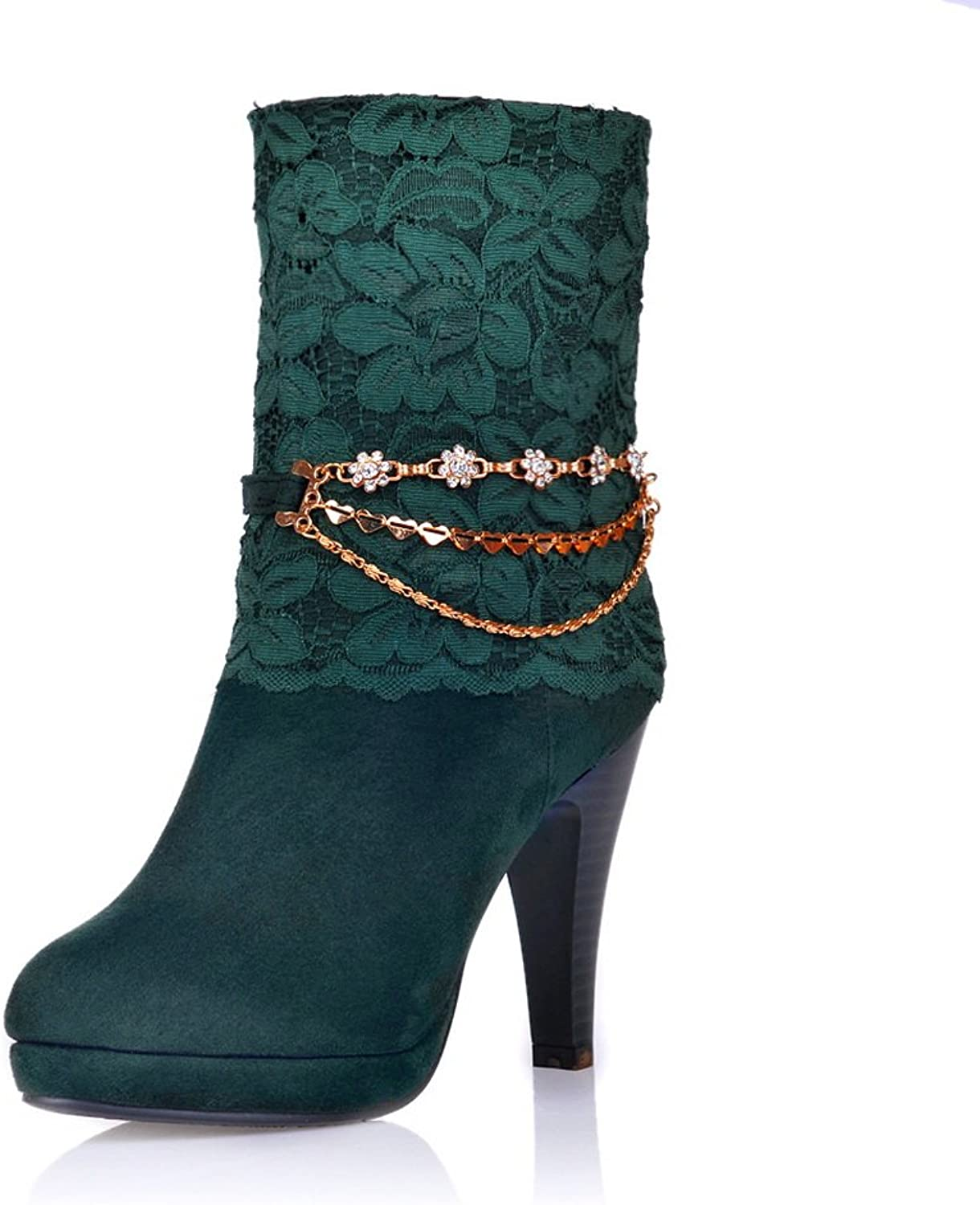 QueenFashion Women's Stiletto Solid Lace Ankle Boots with Rhinestones and Metal Chains