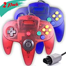 Ssgamer 2 Packs N64 Controller, Upgraded Joystick Classic Wired Controller Compatible with N64 Console (Clear Red and Clear Blue)
