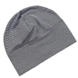 dailymall Mens Adult Cotton Night Cap Sleep Patch Sleeping Head Hat Plain Beanie - Black and White, Free Size