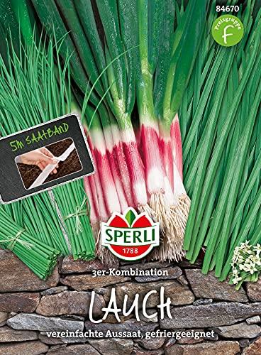 84670 Sperli Premium Schnittlauch Samen 3er Kombi | Saatband | Schnittknoblauch Samen | Lauchzwiebel Samen | Schnittlauch Samen Mehrjährig